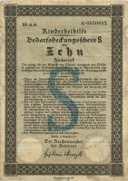 Ehestandsdarlehen 10 Reichsmark 1937 Kinderhilfe (3-) mit Stempel