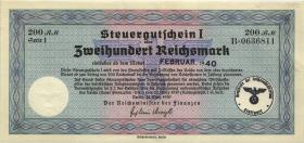"""R.717c: Steuergutschein 200 Reichsmark 1939 (1/1-) mit zivilem Stempel """"Wiesbaden"""""""