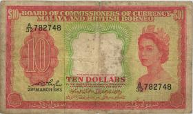 Malaya & British Borneo P.03a 10 Dollars 1953 (4)