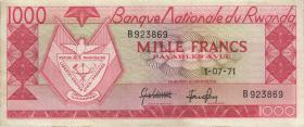 Ruanda / Rwanda P.10b 1000 Francs 1971 (3+)