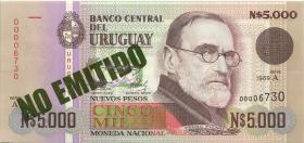 """Uruguay P.068A 5.000 Pesos 1989 """"No Emitado"""" (1)"""