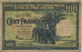 Belgisch-Kongo / Belgian Congo P.25a 100 Francs 31.10.1952 (3)