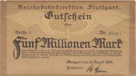 PS1372b Reichsbahn Stuttgart 5 Million Mark 1923 Reihe 1 (2)