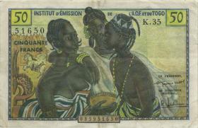Franz. Westafrika / French West Africa P.45 50 Francs (1956) (3+)