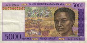 Madagaskar P.78a 5.000 Francs (1995) (3)