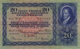 Schweiz / Switzerland P.39t 20 Franken 1952 (3+)