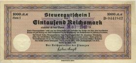 """R.719f: Steuergutschein 1000 Reichsmark 1939 (Mai 1940) (2) mit zivilem Stempel """"Heidelberg"""""""