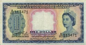 Malaya & British Borneo P.01a 1 Dollars 1953 (3+)