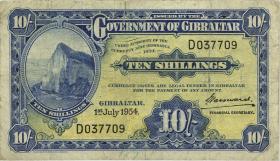 Gibraltar P.14b 10 Shillings 1942 (3-)