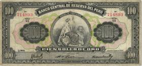 Peru P.073 100 Soles 1954 (3-)