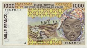 West-Afr.Staaten/West African States P.111Ac 1000 Francs 1993 (1)