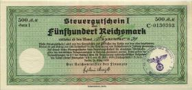 """R.718a: Steuergutschein 500 Reichsmark 1939 (2) mit Stempel """"Oberkommando ..."""""""