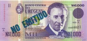 """Uruguay P.067A 1.000 Pesos 1989 """"NO EMITIDO"""" (1) blauer Überdruck"""