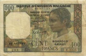 Madagaskar P.52 100 Francs = 20 Ariary (1961) (3)