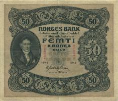 Norwegen / Norway P.09d 50 Kronen 1942 (3+)