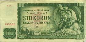 Tschechoslowakei / Czechoslovakia P.91c 100 Kronen 1961 (3)