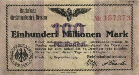 PS1137A Reichsbahn Breslau 100 Millionen Mark 1923 (3)