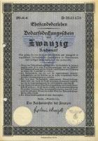 Ehestandsdarlehen 20 Reichsmark 1933 (2) mit Stempel, Registerlochung