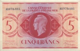 Frz.-Äquatorialafrika/F.Equatorial Africa P.15b 5 Francs L.1944 (1-)