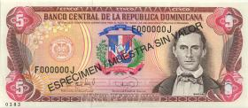 Dom. Republik/Dominican Republic P.147s 5 Pesos Oro 1995 Specimen (1)