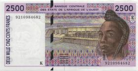 West-Afr.Staaten/West African States P.712Ka 2.500 Francs 1991 Senegal (1)