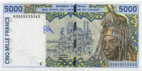 West-Afr.Staaten/West African States P.313Cj 5.000 Francs 2003 Burkina Faso (1)