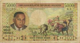 Madagaskar P.60 5.000 Francs = 1.000 Ariary (1966) (4)