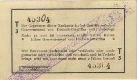 "R.929u: Deutsch-Ostafrika 1 Rupie 1916 T3 (1) korrigierte Nummer ""45304"""