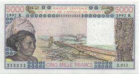 West-Afr.Staaten/West African States P.708Kq 5.000 Francs 1992 Senegal (1)