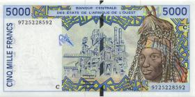 West-Afr.Staaten/West African States P.313Cf 5.000 Francs 1997 Burkina Faso (1)