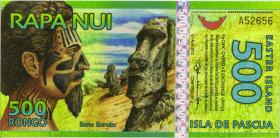Osterinseln / Easter Islands 500 Rongos (= 1 $) 2012 Polymer (1)