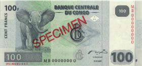 Kongo / Congo P.098As 100 Francs 2007 Specimen (1)