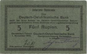 """R.921b: Deutsch-Ostafrika 5 Rupien 1915 E (1/1-) """"Häge"""""""