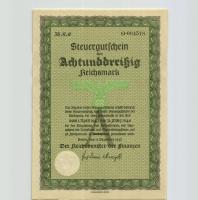 Steuergutschein 38 Reichsmark 1937 (1943) (1/1-)