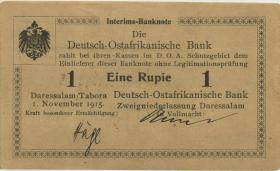 """R.916d: Deutsch-Ostafrika 1 Rupie 1915 C (1-) """"Seidenschwarz"""""""