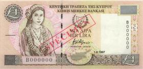 Zypern / Cyprus P.57s 1 Pound 1.2.1997 Specimen (1)