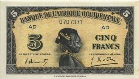 Franz. Westafrika / French West Africa P.28b 5 Francs 1942 (1)