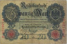 """R.040bF: 20 Mark 1910 """"191 Fehldruck"""" (3)"""