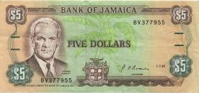 Jamaika / Jamaica P.70d 5 Dollars 1991 (3)