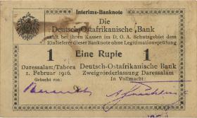 R.929j: Deutsch-Ostafrika 1 Rupie 1916 P3 korrigierte Nummer (1-)