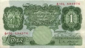 Großbritannien / Great Britain P.369c 1 Pound (1955-60) (3+)