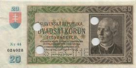 Slowakei / Slovakia P.05s 20 Kronen 1939 (2) Specimen