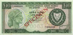 Zypern / Cyprus P.48s 10 Pounds 1.4.1977 Specimen (1/1-)