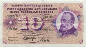 Schweiz / Switzerland P.45 10 Franken 1967-77 (3+)