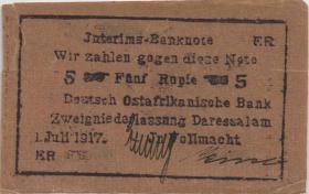 R.937c: Deutsch-Ostafrika 5 Rupien 1915 Buschnote (4)