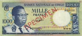 Kongo / Congo P.008s 1000 Francs 15.10.1961 Specimen (1/1-)