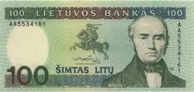 Litauen / Lithuania P.50a 100 Litu 1991 Serie AA (1)