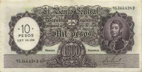 Argentinien / Argentina P.284 10 Peso auf 1000 Pesos (1969-71) (3)