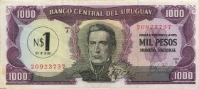 Uruguay P.055 1 Nuevo Peso auf 1000 Pesos (1975) (3+)