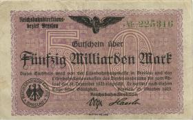 PS1139b Reichsbahn Breslau 50 Milliarden Mark 1923 (3)